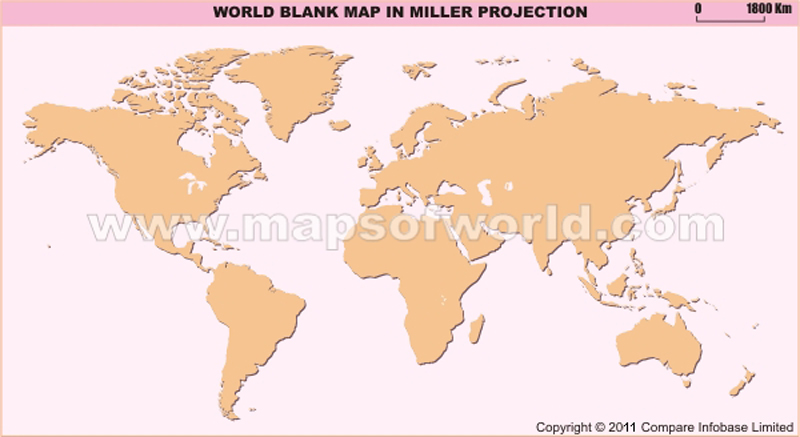 World India Centric Map in Miller Projection