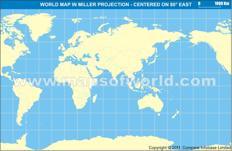 World Map India Centric.  India Centric World Map in Miller Projection