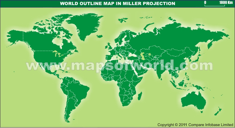 World Outline Map With Dark Colors in Miller Projection