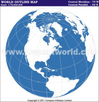 America Centric World Outline Map