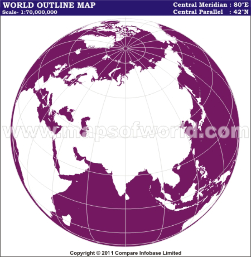 World Outline India Centred Map in World From Space Projection