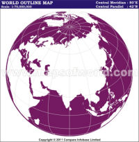 India Centric World Outline Map