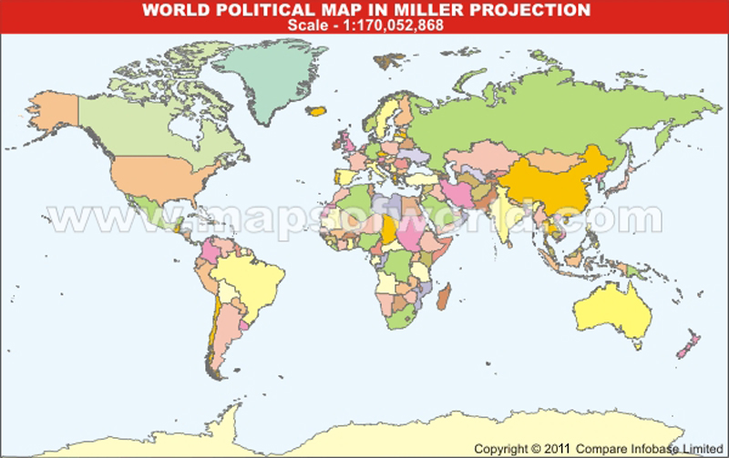 World Political Map Without Text in Miller Projection