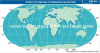 World Outline Map in Robinson Projection (Light Background)
