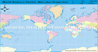 America Centric World Map in Mercator Projection