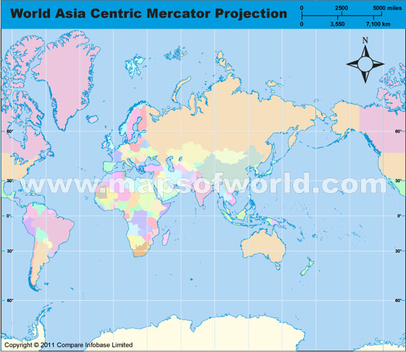 world asia centric map in mercator projection