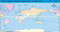 Asia Centric World Map in Mercator Projection