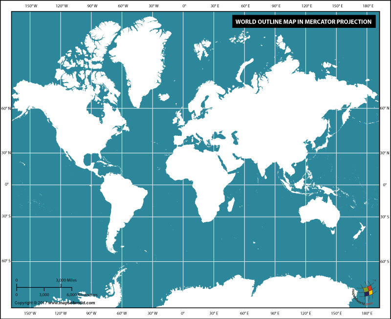 World outline map in Mercator projection (Dark color)