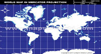 World Outline Map in Mercator Projection (Dark Background)
