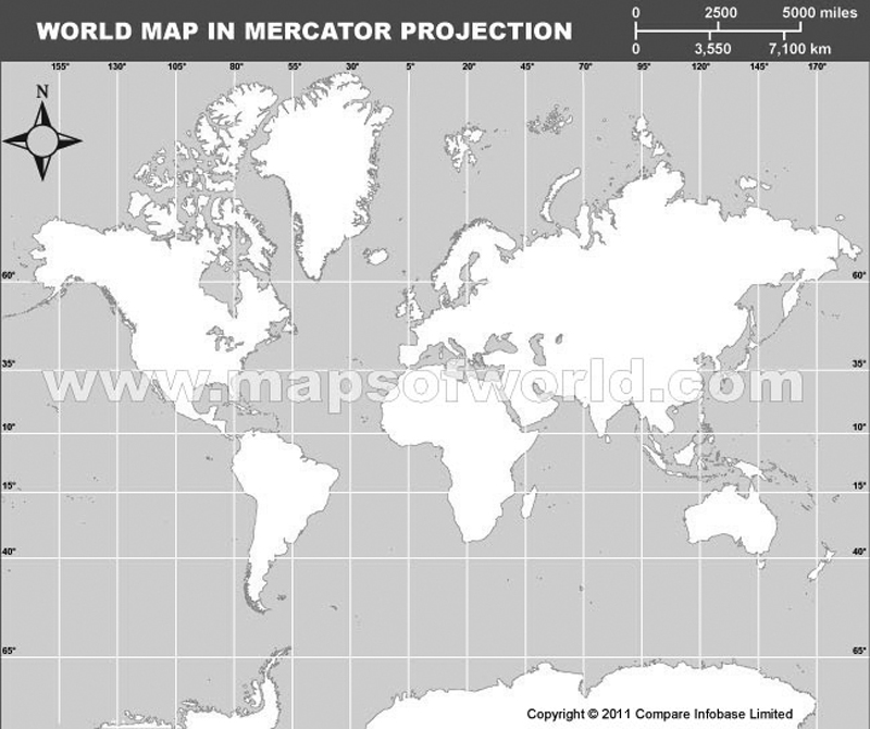 World Outilne Map in Mercator Projection (Grey color)