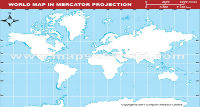 World Outline Map in Mercator Projection (Light Background)