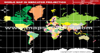 World Map in Mercator Projection (Dark Background)