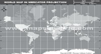 World Map in Mercator Projection (Grayscale)