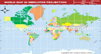World Map in Mercator Projection (Light Background)