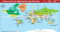 World Map in Mercator Projection