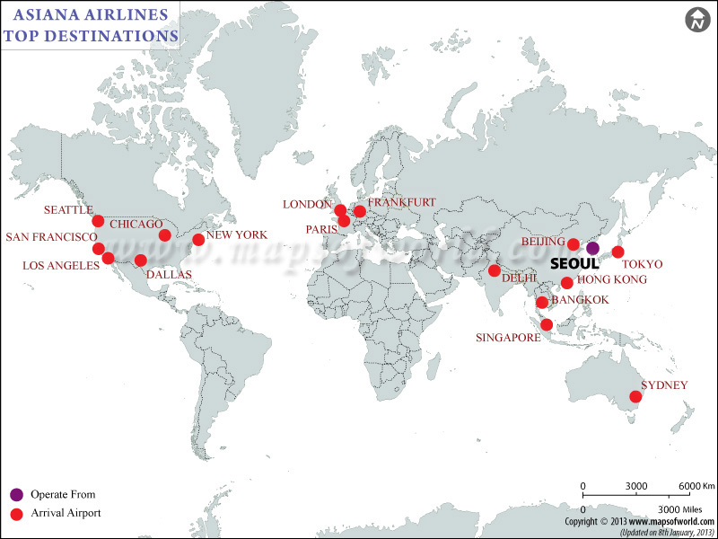Asiana Airlines Major Destinations Map