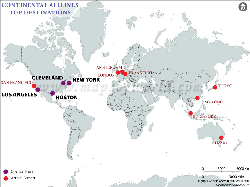 Continental Airlines Major Destinations Map