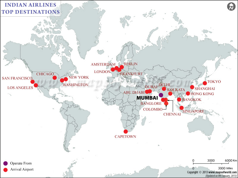 Indian Airlines Major Destinations Map