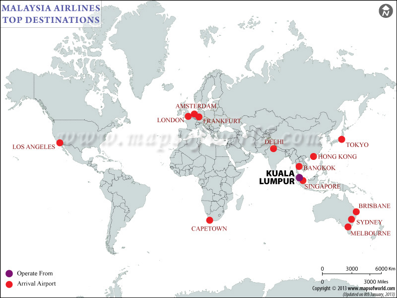 Malaysia Airlines Major Destinations Map