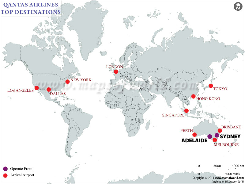 Qantas Airlines Major Destinations Map