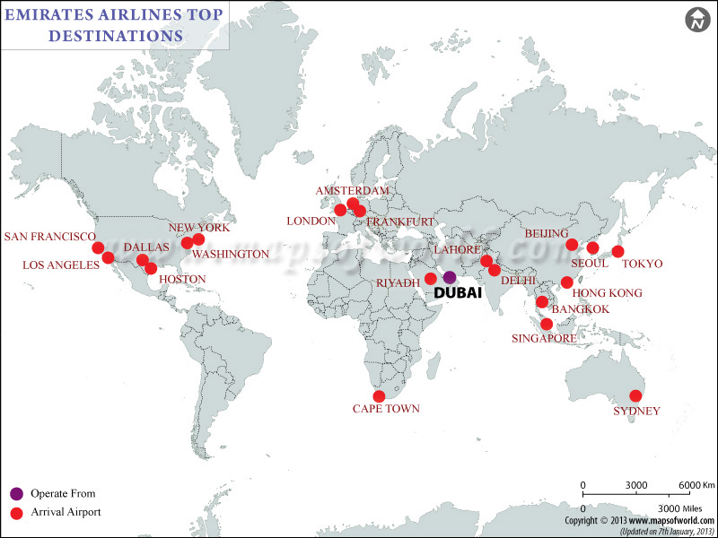 Emirates Airlines Major Destinations Map