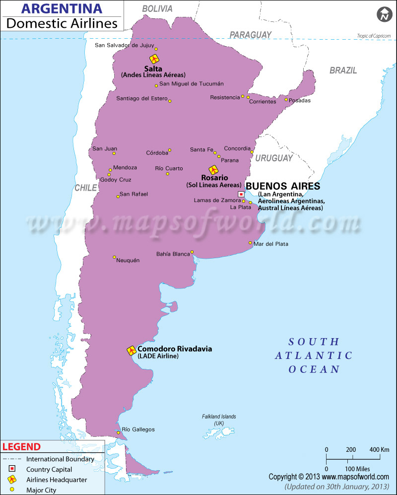 Argentina Regional Domestic Airlines Map