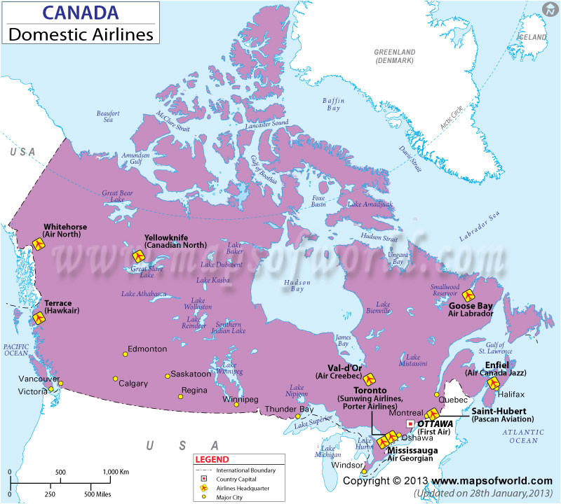 Canada Regional Domestic Airlines Map