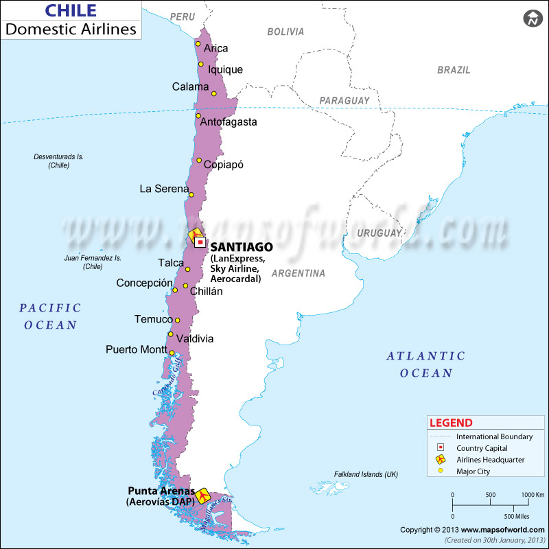 Chile Regional Domestic Airlines Map