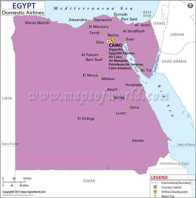 Egypt Regional Domestic Airlines Map