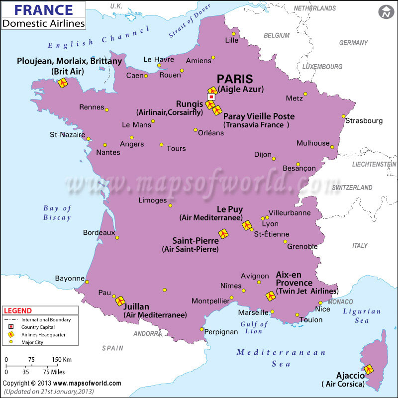 France Regional Domestic Airlines Map