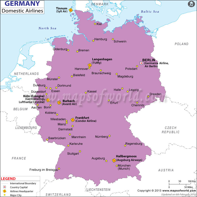 Germany Regional Domestic Airlines Map