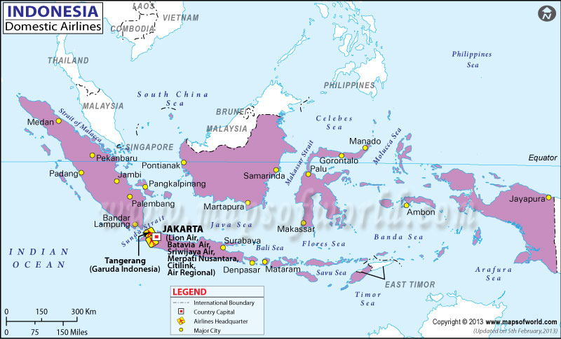 Indonesia Regional Domestic Airlines Map
