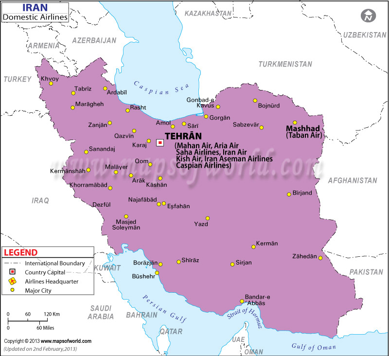 Iran Regional Domestic Airlines Map
