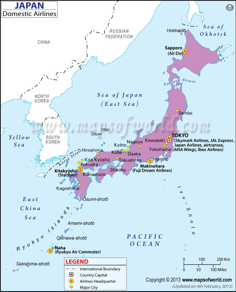 Japan Regional Domestic Airlines Map