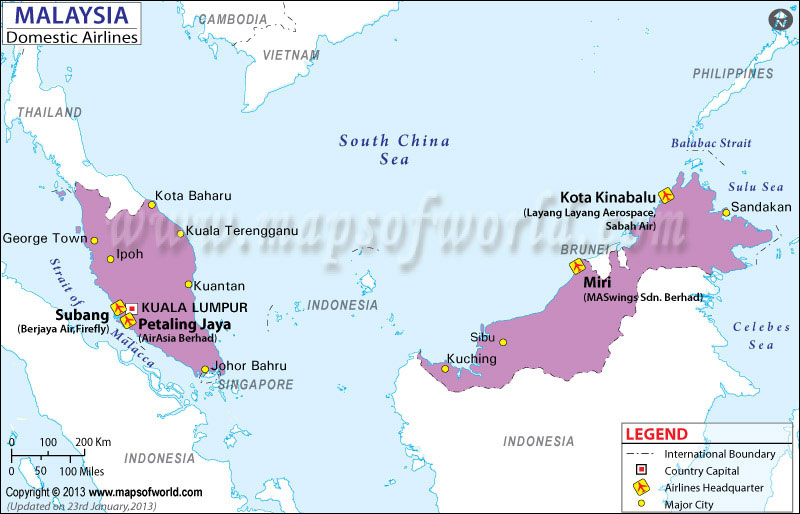 Malaysia Regional Domestic Airlines Map