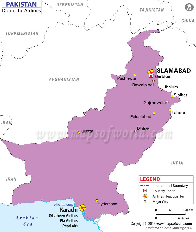 Pakistan Regional Domestic Airlines Map