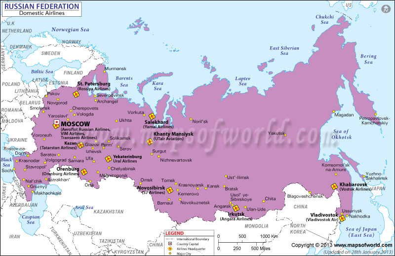 Russia Regional Domestic Airlines Map