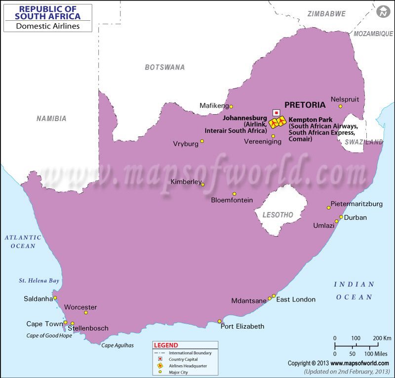 South Africa Regional Domestic Airlines Map