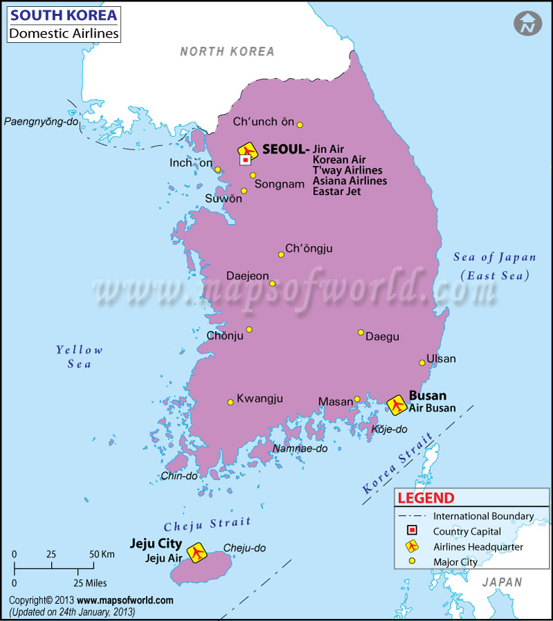 South Korea Regional Domestic Airlines Map