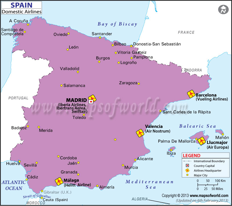 Spain Regional Domestic Airlines Map