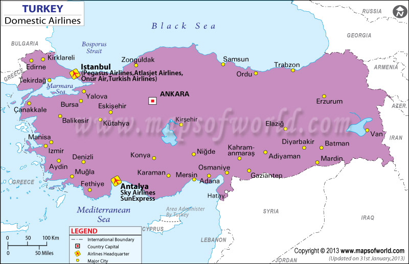 Turkey Regional Domestic Airlines Map
