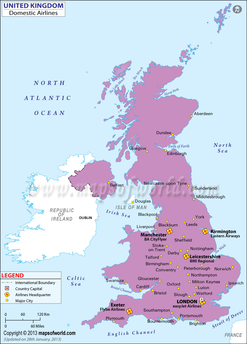 United Kingdom Regional Domestic Airlines Map