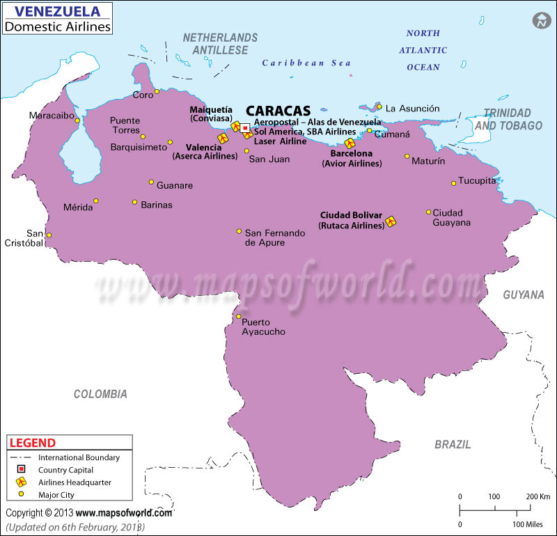 Venezuela Regional Domestic Airlines Map