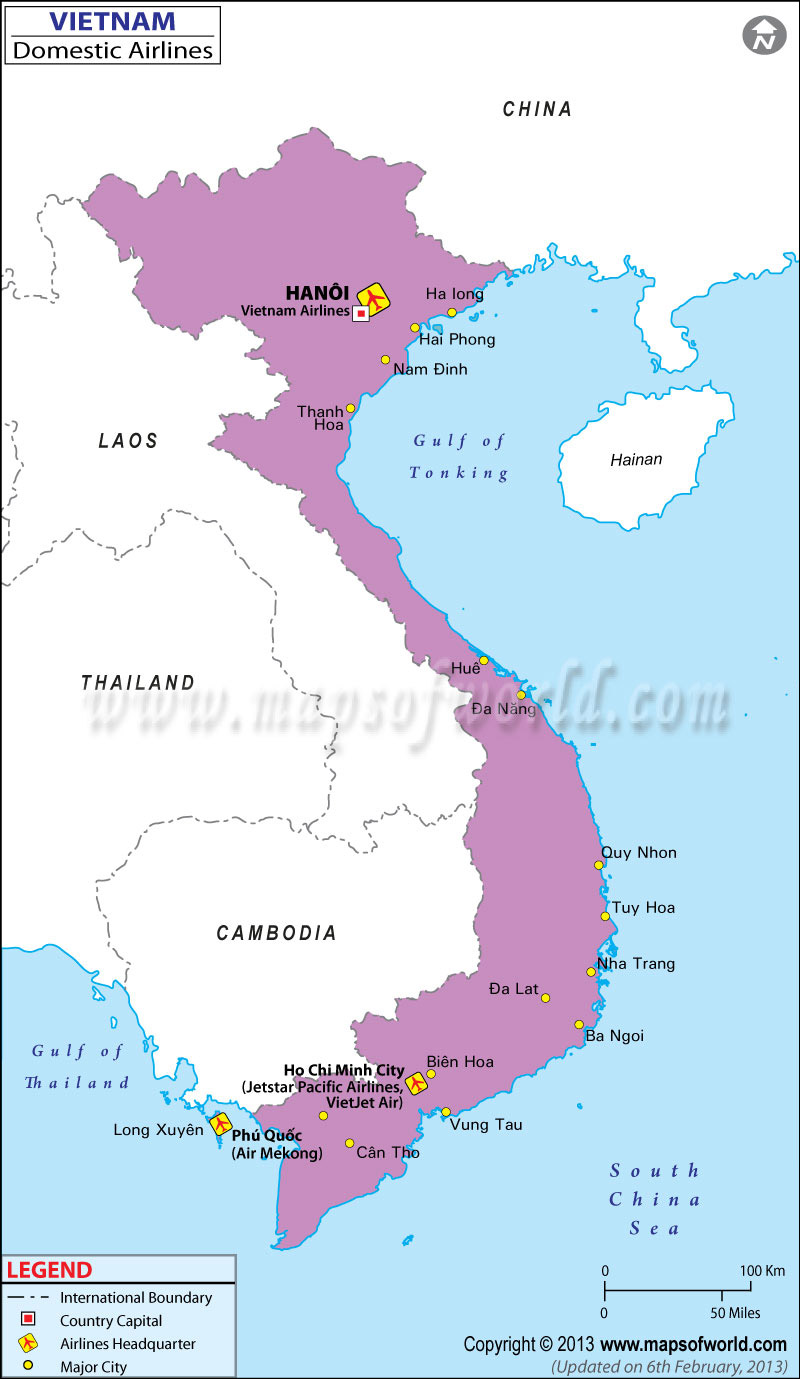 Vietnam Regional Domestic Airlines Map