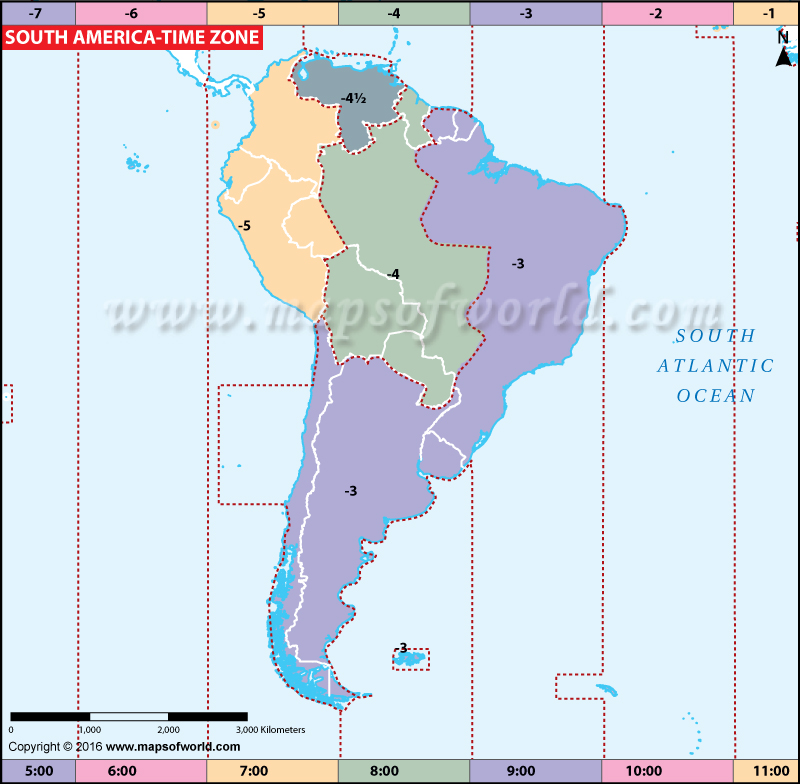 Map Of South America Time Zones.South America Time Zone Map Current Local Time In South America