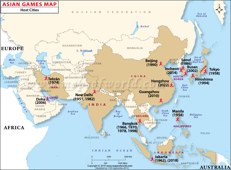 Asian Games Host city Map