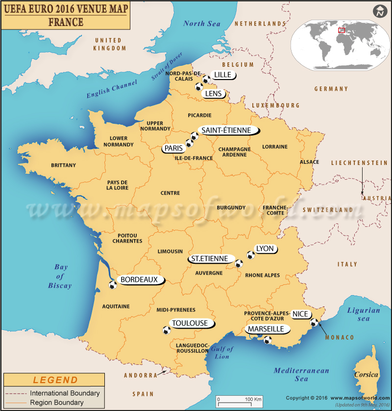 Map Of France Showing Lille.Uefa Euro 2016 Venues France Euro Venues Map