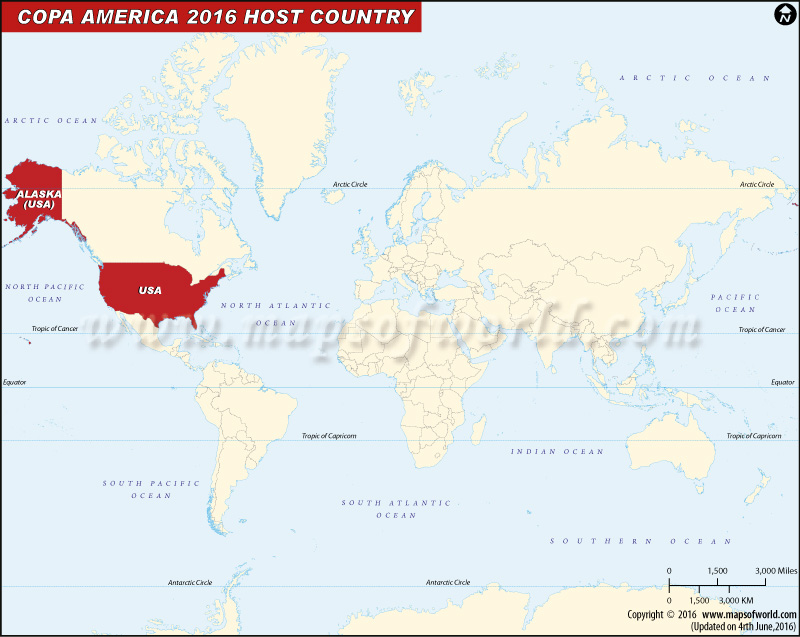 Copa America 2016 Host Country Map