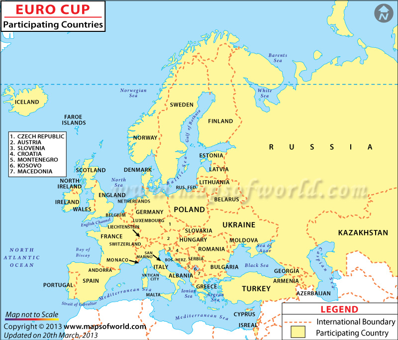 Football Euro Cup Participating Countries Map