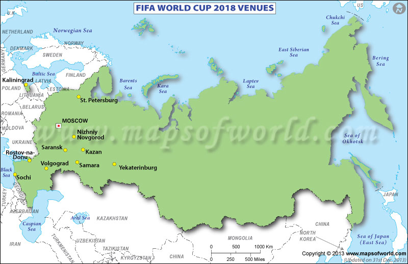 FIFA World Cup 2018 Venue Map